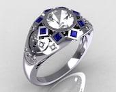 Modern Edwardian 950 Platinum 1.0 Carat Round Diamond Blue Sapphire Ring Y258-PLATDBS