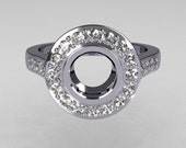 Classic Brilliant Style 10K White Gold 1.0 Carat Round Semi Mount Accent Diamond Bead-Set Border Engagement Ring R42-10KWGDSEMI