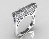 Modern Persian 950 Platinum 0.73 CTW Diamond Designer Ring R103-PLATD