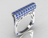 Modern Persian 14K White Gold 0.73 CTW Blue Diamond Designer Ring R103-14KWGBD