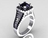 Modern Armenian Vintage 950 Platinum 1.0 Carat Black Diamond Engagement Ring R137-PLATBD