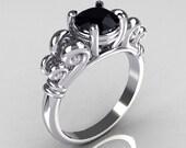 Modern Antique 14K White Gold 1.0 Carat Round Black Diamond Designer Solitaire Ring R141-14WGBD