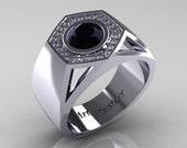 Gentlemens Modern 950 Platinum 1.0 Carat Black Diamond Celebrity Engagement Ring MR161-PLATDBD