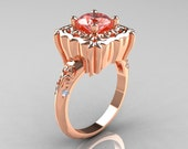 Modern Antique 14K Rose Gold 1.0 Carat Morganite Diamond Engagement Ring AR116-14KRGDMO