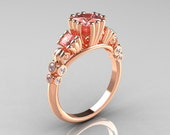 Classic 10K Rose Gold 1.25 CT Princess Morganite Diamond Three Stone Engagement Ring R171-10KRGDMO