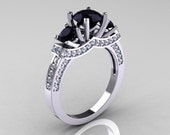 French 14K White Gold Three Stone Black and White Diamond Wedding Ring, Engagement Ring R182-14KWGDBD