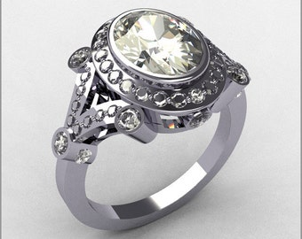 Modern Victorian 14K White Gold .58 ctw Diamond 2.0CT Oval Zirconia Bridal Ring R58-14KWGDCZ