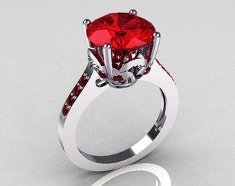 14K White Gold 3.5 Carat Red Rubies Solitaire Wedding Ring R301-14KWGRR