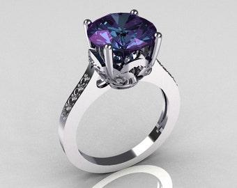 Classic 950 Platinum 3.5 Carat Alexandrite Pave Diamond Solitaire Wedding Ring R301-PLATDAL