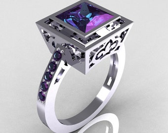 Contemporary French 14K White Gold 1.65 Carat Princess Cut Alexandrite Bridal Ring R35-14WGAL