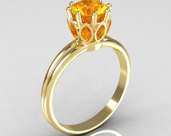 Classic 10K Yellow Gold Marquise and Round Yellow Sapphire Stone Solitaire Ring R90-10KWGYS