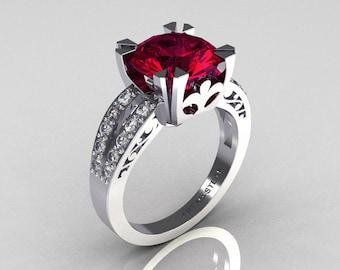 Modern Vintage 14K White Gold 3.0 Carat Rhodolite Garnet Diamond Solitaire Ring R102-14KWGDRG