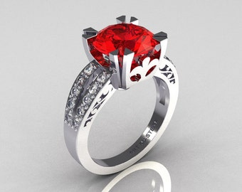 Modern Vintage 10K White Gold 3.0 Carat Red Ruby Diamond Solitaire Ring R102-10KWGDRR