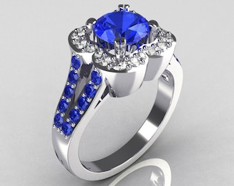 Classic 2011 Trend 14K White Gold 1.0 Carat Blue and White Diamond Celebrity Fashion Engagement Ring R104-14KWGDBD