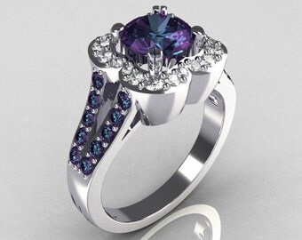 Classic 2011 Trend 10K White Gold 1.0 Carat Alexandrite Diamond Celebrity Fashion Engagement Ring R104-10KWGDAL