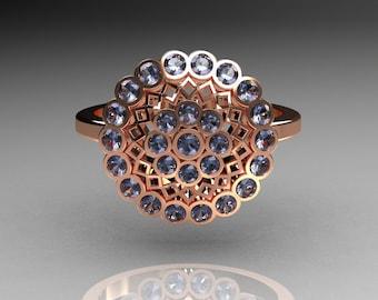 Classic 14K Pink Gold 0.50 CTW Blue Topaz Cluster Bridal Ring R107-14KPGBT