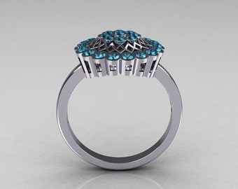 Classic 14K White Gold Aquamarine Cluster Bridal Ring R107-14KWGAQ