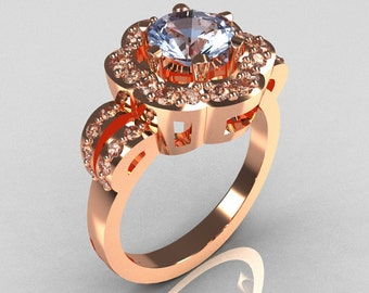 Classic 18K Pink Gold 1.0 Carat Blue Topaz Diamond 2011 Trend Engagement Ring R108-18KPGDBT