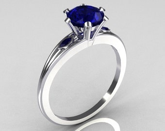 Ultra Modern 10K White Gold 1.0 Carat Round Blue Sapphire Solitaire Ring R111-10KWGBS