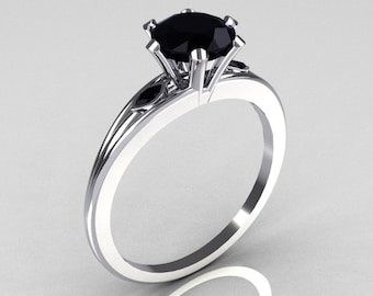 Ultra Modern 14K White Gold 1.0 Carat Round Black Diamond Solitaire Ring R111-14KWGBLD
