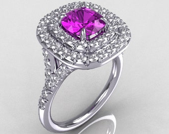 Soleste Style 10K White Gold 1.25 CT Cushion Cut Amethyst Bead-Set Diamond Engagement Ring R116-10WGDAM