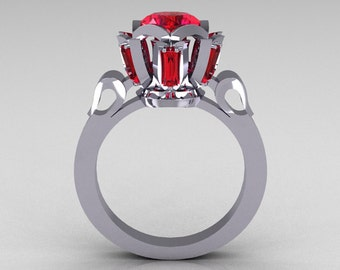 Modern Edwardian 10K White Gold 1.0 Carat Red Ruby Baguette Cluster Wedding Ring R305-10WGRR