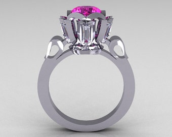 Modern Edwardian 10K White Gold 1.0 Carat Pink White Sapphire Baguette Cocktail Wedding Ring R305-10WGPWS