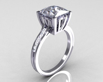 Modern Italian 14K White Gold 2.0 Carat Princess White Sapphire Channel Diamond Solitaire Ring R312-14KWGWSD
