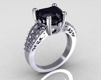 Modern Vintage 18K White Gold 3.0 Carat Heart Black and White Diamond Solitaire Ring R134-18KWGDBD