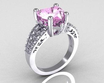 Modern Vintage 14K White Gold 3.0 Carat Heart Light Pink Sapphire Diamond Solitaire Ring R134-14KWGDLPS
