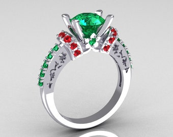 Modern Armenian Classic 10K White Gold 1.5 Carat Emerald and Ruby Solitaire Wedding Ring R137-10WGEMRR