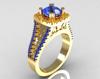 Modern Armenian Vintage 18K Yellow Gold 1.0 Carat Blue Sapphire Citrine Engagement Ring R137-18YGBSCI