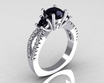 Modern French Bridal 14K White Gold Three Stone 1.0 Carat Black Diamond Accent White Diamond Engagement Ring R140-14WGDBD