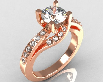 Modern Bridal 10K Rose Gold 1.0 Carat CZ Diamond Solitaire Ring R145-10RGDCZ