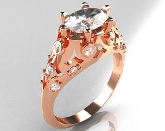 Modern Edwardian 10K Rose Gold 1.0 Carat Oval White Sapphire Bridal Ring R147-10RGDWS