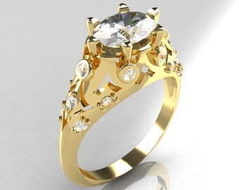 Modern Edwardian 10K Yellow Gold 1.0 Carat Oval White Sapphire Bridal Ring R147-10YGDWS