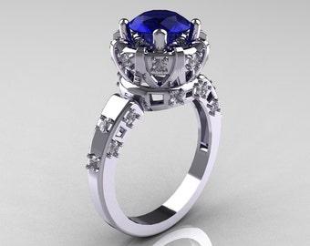Modern Antique 14K White Gold 1.5 Carat Blue Sapphire Diamond Classic Armenian Solitaire Wedding Ring AR107-14KWGDBS