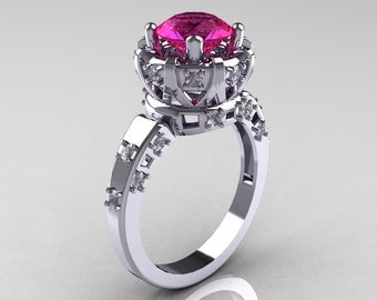 Modern Antique 14K White Gold 1.5 Carat Pink Sapphire Diamond Classic Armenian Solitaire Wedding Ring AR107-14KWGDPS