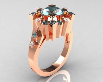 Classic 14K Rose Gold 1.5 Carat Aquamarine Diamond Wedding Ring AR108-14KRGDAQQ