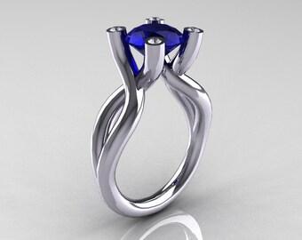 Modern 14K White Gold 1.5 Carat Blue Sapphire Diamond Solitaire Ring AR110-14KWGDBS