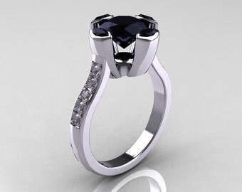 Modern Classic 14K White Gold 1.5 Carat Round and Marquise Black Diamond Solitaire Ring AR121-14WGDBLL