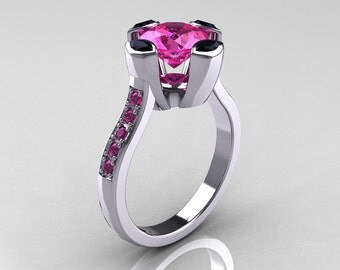 Modern Classic 18K White Gold 1.5 Carat Pink Sapphire Marquise Black Diamond Solitaire Ring AR121-18WGBDPSS