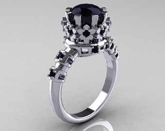 Modern Vintage 10K White Gold 1.5 Carat Black Diamond Classic Armenian Wedding Ring AR105-10KWGBDD