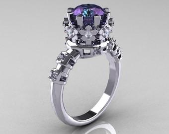 Modern Vintage 10K White Gold 1.5 Carat Alexandrite Diamond Classic Armenian Bridal Ring AR105-10KWGDAL