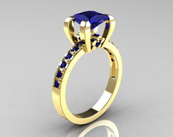 Classic 14K Yellow Gold 1.0 Carat Princess Blue Sapphire Solitaire Engagement Ring AR125-14YGBS