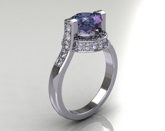 Italian Bridal 18K White Gold 1.5 Carat Round Alexandrite Diamond Wedding Ring AR119-18WGDAL