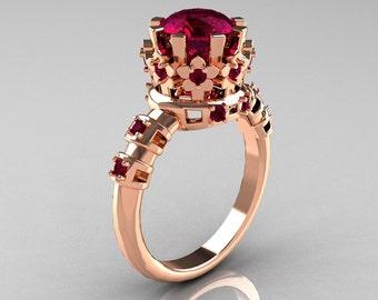 Modern Vintage 10K Pink Gold 1.5 Carat Rhodolite Garnet Classic Armenian Wedding Ring AR105-10PGRGG