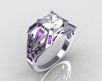 Modern Edwardian 10K White Gold Alexandrite and White Sapphire Designer Ring R85-10KWGWSAL