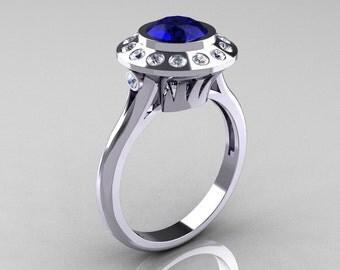 Classic 950 Platinum 1.0 Carat Blue Sapphire Diamond Bridal Engagement Ring R400-PLATDBS