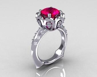 Classic 18K White Gold 3.0 Carat Red Ruby Diamond Greek Galatea Bridal Wedding Ring AR114-18KWGDRR